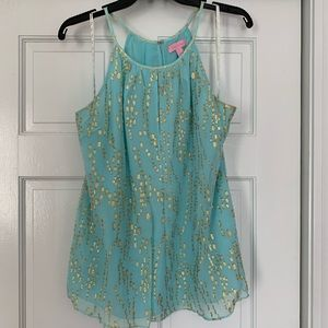 LillyPulitzer teal and gold top